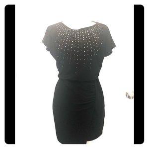 WHBM Short Sleeve Beaded Black Dress